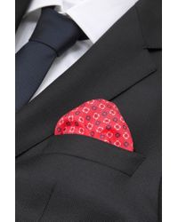 BOSS - Red 'pocket Square 33 X 33' | Cotton Printed Pocket Square for Men - Lyst