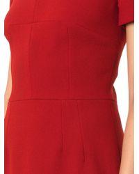 Dolce & Gabbana - Red Scoop-Neck Wool-Crepe Dresss - Lyst
