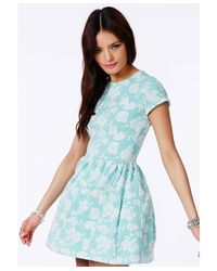 Missguided - Green Lasla Mint Skater Dress With Flocked Floral Detail - Lyst