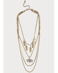 Bebe | Metallic Draped Pendant Necklace | Lyst