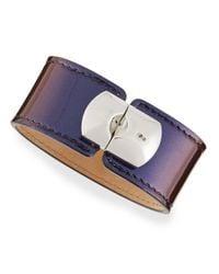 Balenciaga - Blue Amethyst Leather Padlock Bracelet - Lyst