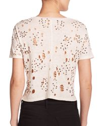 Alice + Olivia - Natural Distressed & Beaded Linen Cropped Top - Lyst