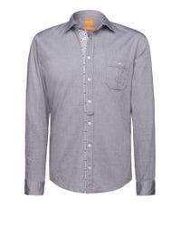 BOSS Orange | Blue Slim Fit Shirt 'eslime' In Cotton for Men | Lyst
