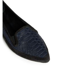 Proenza Schouler - Blue Snakeskin Effect Leather Slip-ons - Lyst