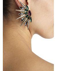 Anton Heunis | Metallic Gold Plated Amethyst And Swarovski Crystal Earrings | Lyst
