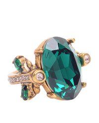 Oscar de la Renta - Green Emerald Swarovski Crystal Ring - Lyst