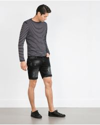 Zara | Black Denim Shorts for Men | Lyst