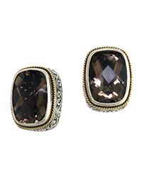 Effy | Metallic Smoky Quartz, Sterling Silver And 18k Yellow Gold Stud Earrings | Lyst