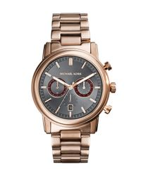Michael Kors - Metallic Mid-size Rose Golden Stainless Steel Pennant Chronograph Watch for Men - Lyst