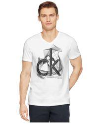 Calvin Klein - White Ck One Logo Graphic Slim-Fit T-Shirt for Men - Lyst