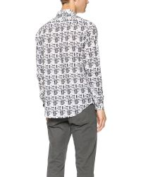 Theory - Gray Zack Shadowed Plaid Shirt for Men - Lyst