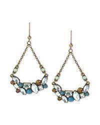 Betsey Johnson - Metallic Bronzetone Crystal Cluster Chandelier Earrings - Lyst