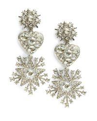 Oscar de la Renta | Metallic Rhinstone Drop Earrings | Lyst