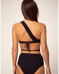 Mouille' - Black Bikini Top with One Shoulder Wrap Detail - Lyst