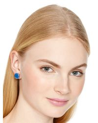 kate spade new york - Small Square Stud Earrings - Ocean Blue - Lyst