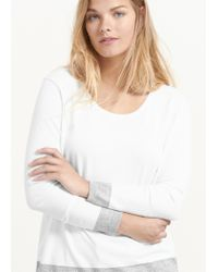 Violeta by Mango - White Contrast Hem Sweater - Lyst