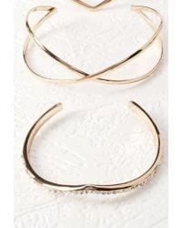 Forever 21 - Metallic Rhinestoned Bracelet Cuff Set - Lyst