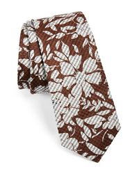 W.r.k. | Brown Floral Silk & Cotton Tie for Men | Lyst