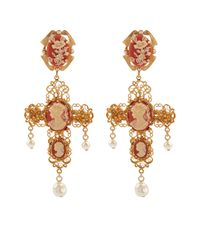 Dolce & Gabbana | Metallic Cameo Embellished Cross Clip-On Earrings | Lyst