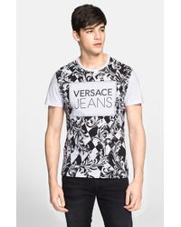 Versace Jeans - Black Check Print Graphic T-Shirt for Men - Lyst
