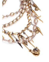 Erickson Beamon | Metallic Iron Butterfly' Pearlescent Appliqué Glass Pearl Spike Necklace | Lyst