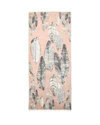 Michael Stars | Brown Painted Feathers Scarf in Blush | Lyst