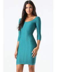 Bebe | Blue Textured Bodycon Dress | Lyst