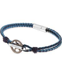 Tateossian - Blue Pop Gear Leather Bracelet - For Men - Lyst