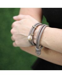 Mizuki | Gray Pearl And Slider Wrap Bracelet | Lyst