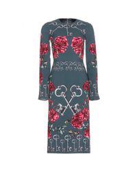 Dolce & Gabbana | Blue Printed Crepe Dress | Lyst