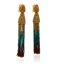Oscar de la Renta | Multicolor Ombre Beaded Tassel Earrings | Lyst