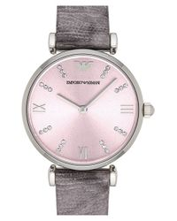 Emporio Armani | Gray Crystal Accent Lizard Strap Watch | Lyst