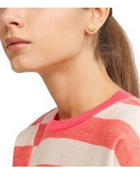 Tory Burch - Metallic Hexagon Logo Stud Earring - Lyst