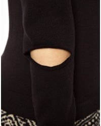 ASOS - Black Jumper with Cut Out Front - Lyst