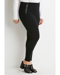 Forever 21 - Black Plus Size Zippered Skinny Pants - Lyst