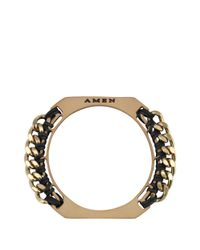 Amen - Metallic Leather Bangle with Chain - Lyst
