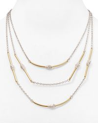 "Robert Lee Morris - Metallic Two Tone Multi Strand Necklace, 19"" - Lyst"