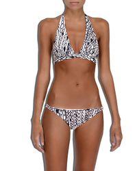 MILLY | Blue Cabana Chain Print Capri Halter Bikini Top | Lyst