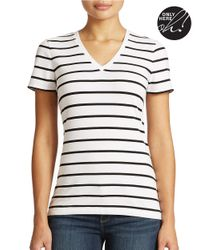 Lord & Taylor | White Plus Striped V-neck Tee | Lyst