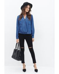 Forever 21 - Blue Chambray Surplice Top You've Been Added To The Waitlist - Lyst