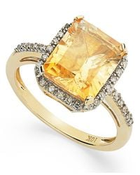 Macy's | Metallic Emerald-Cut Citrine And Diamond Ring In 10K Gold (2-5/8 Ct. T.W.) | Lyst