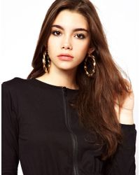 ASOS - Metallic Large Twisted Hoop Earring - Lyst