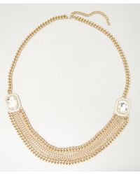 Sparkling Sage - Metallic Gold and Crystal Layered Chain Statement Necklace - Lyst