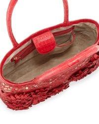 Nancy Gonzalez - Red Panama Floral-Cutout Straw Basket Tote Bag - Lyst