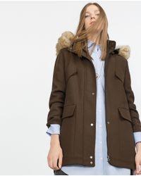 Zara | Natural Fabric Parka | Lyst