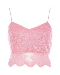River Island | Pink Lace Crop Bralet | Lyst