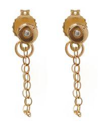 Melissa Joy Manning - Metallic Gold And Diamond Chain Stud Earrings - Lyst