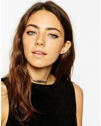 ASOS | Metallic Feather Bead & Cord Choker Necklace | Lyst