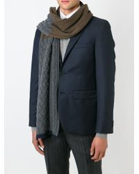 Paul Smith - Gray Contrast Knit Scarf for Men - Lyst
