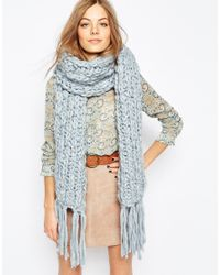 Pieces - Blue Chunky Knit Blanket Scarf - Lyst